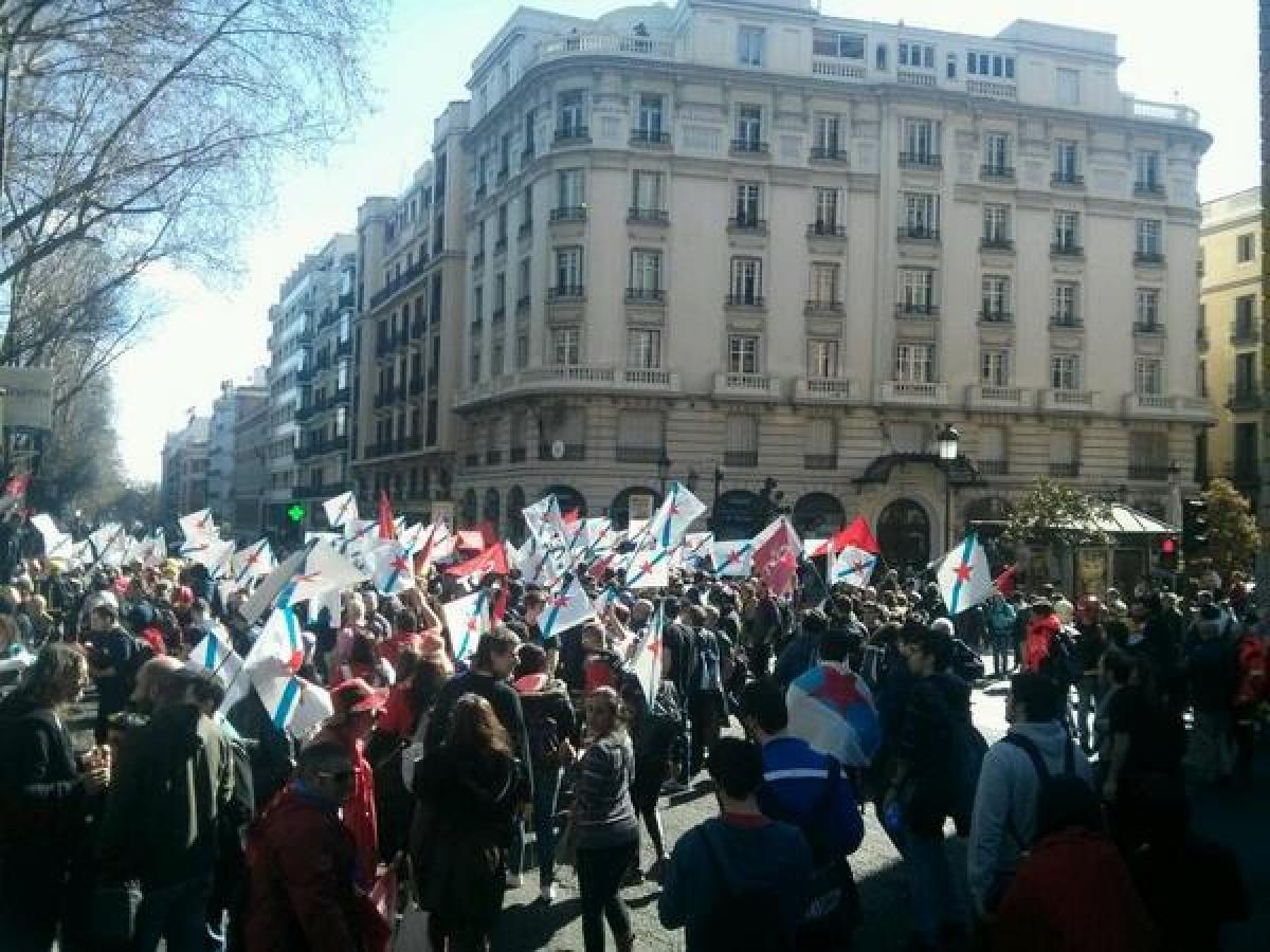 No Paseo del Prado, a unha hora do inicio da manifestación