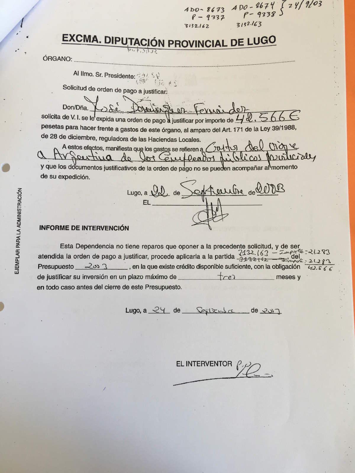 Solicitude de pagamento da viaxe á Arxentina