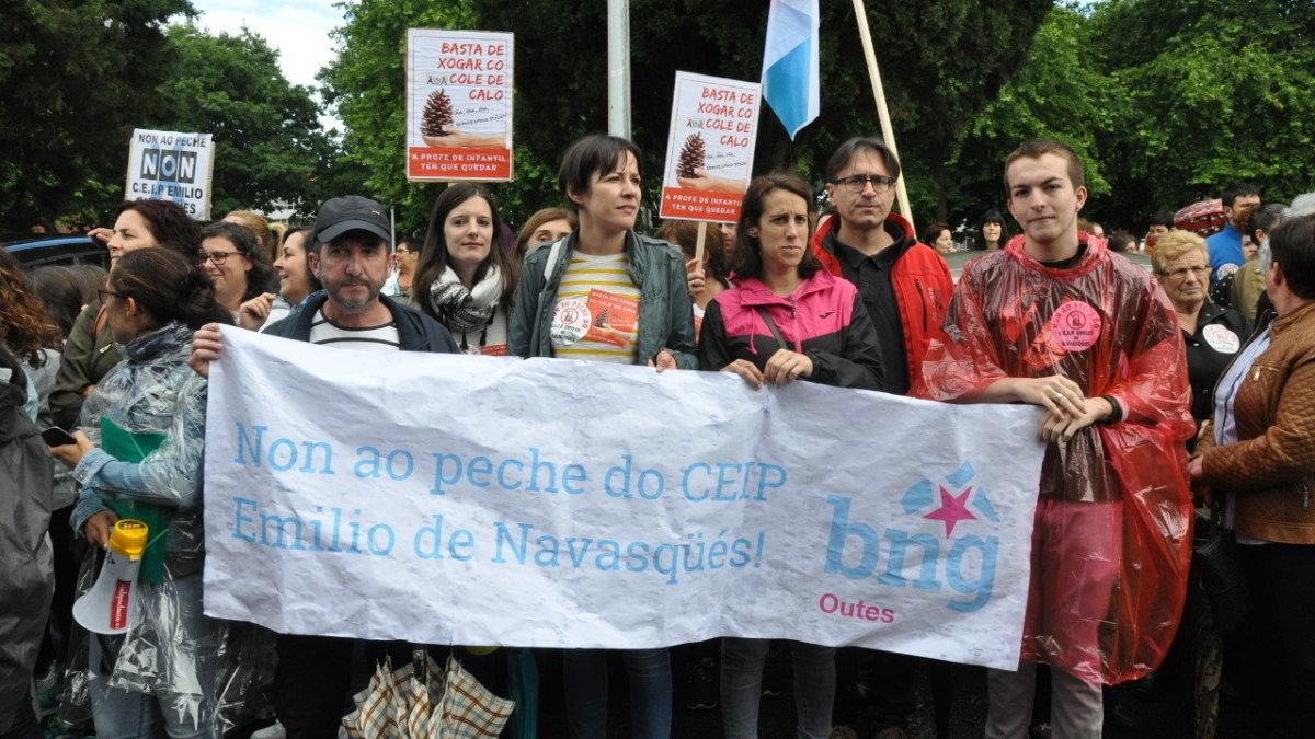 Ana Pontón e Olalla Rodil, do BNG, durante a manifestación
