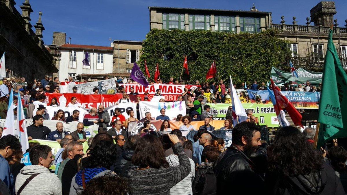 A manifestación, na Praza da Quintana