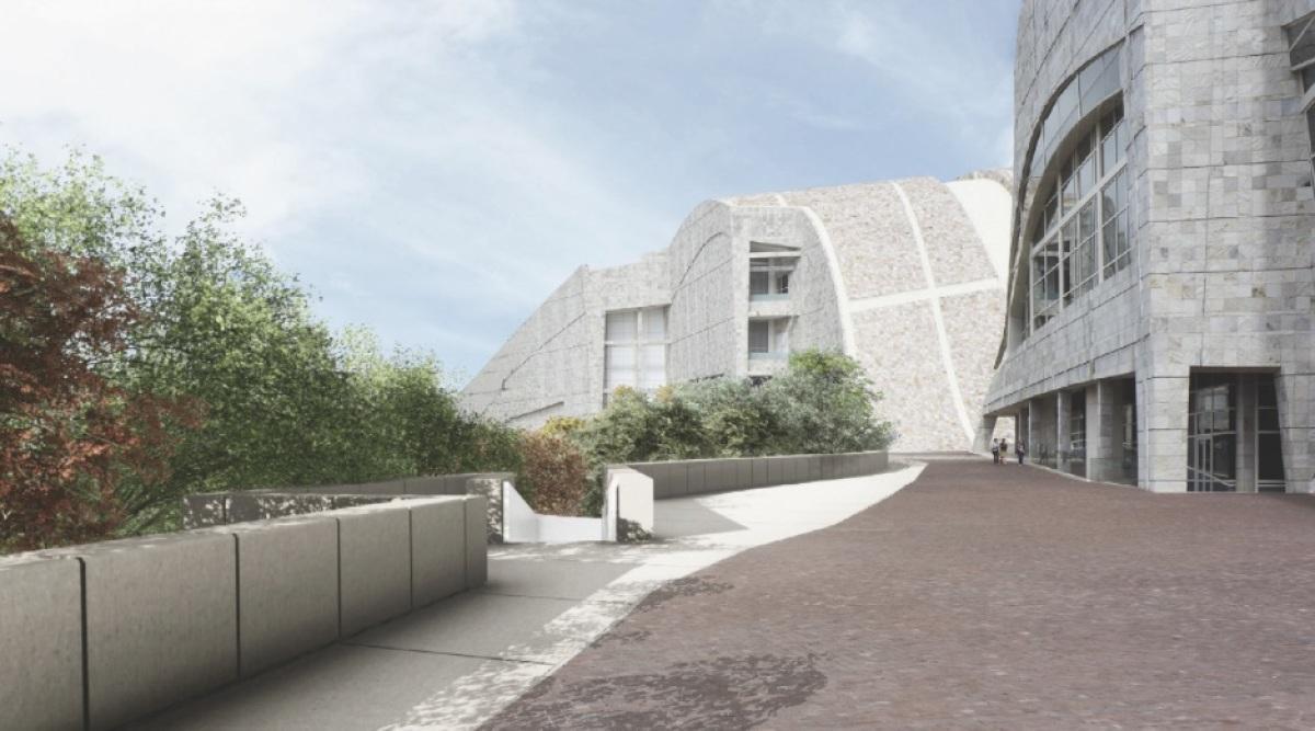 Vista superior do parque que ocupará o burato do Teatro entre os edificios xa construídos do Gaiás