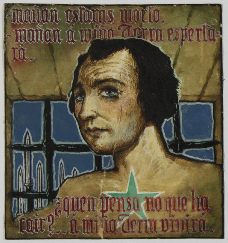 Debuxo feito por Camilo Díaz Baliño realizado cando estivo no cárcere de Santiago de Compostela