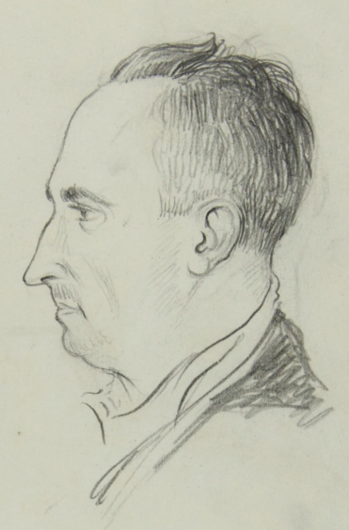 Retrato de Anxel Casal realizado por Camilo Díaz Baliño cando estiveron no cárcere de Santiago de Compostela