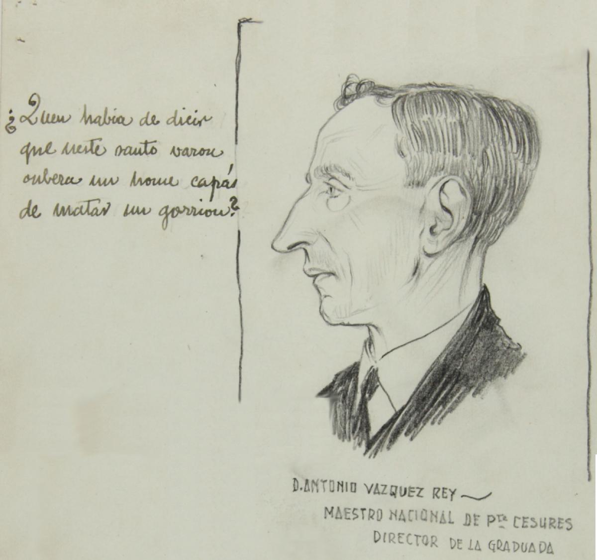 Retrato de Antonio Vázquez Rei realizado por Camilo Díaz Baliño cando estiveron no cárcere de Santiago de Compostela