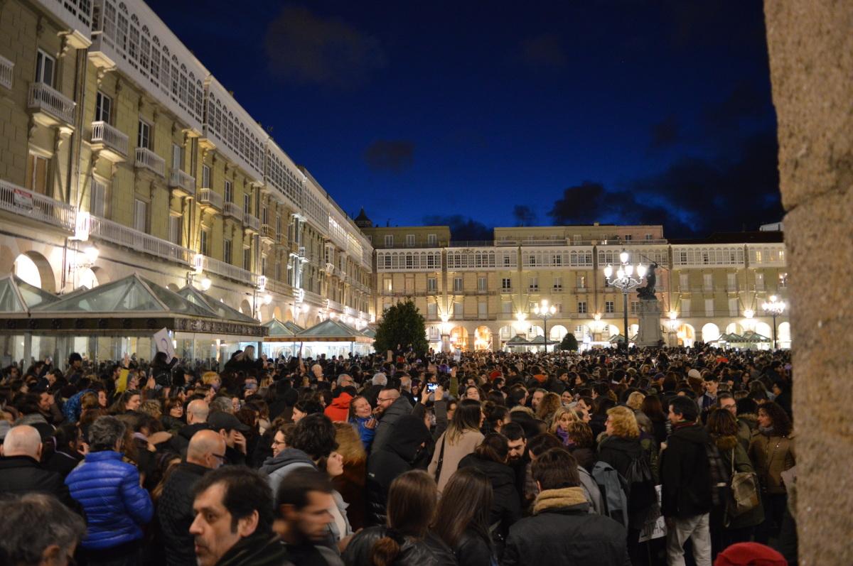 Remate da manifestación da Coruña, na Praza de María Pita