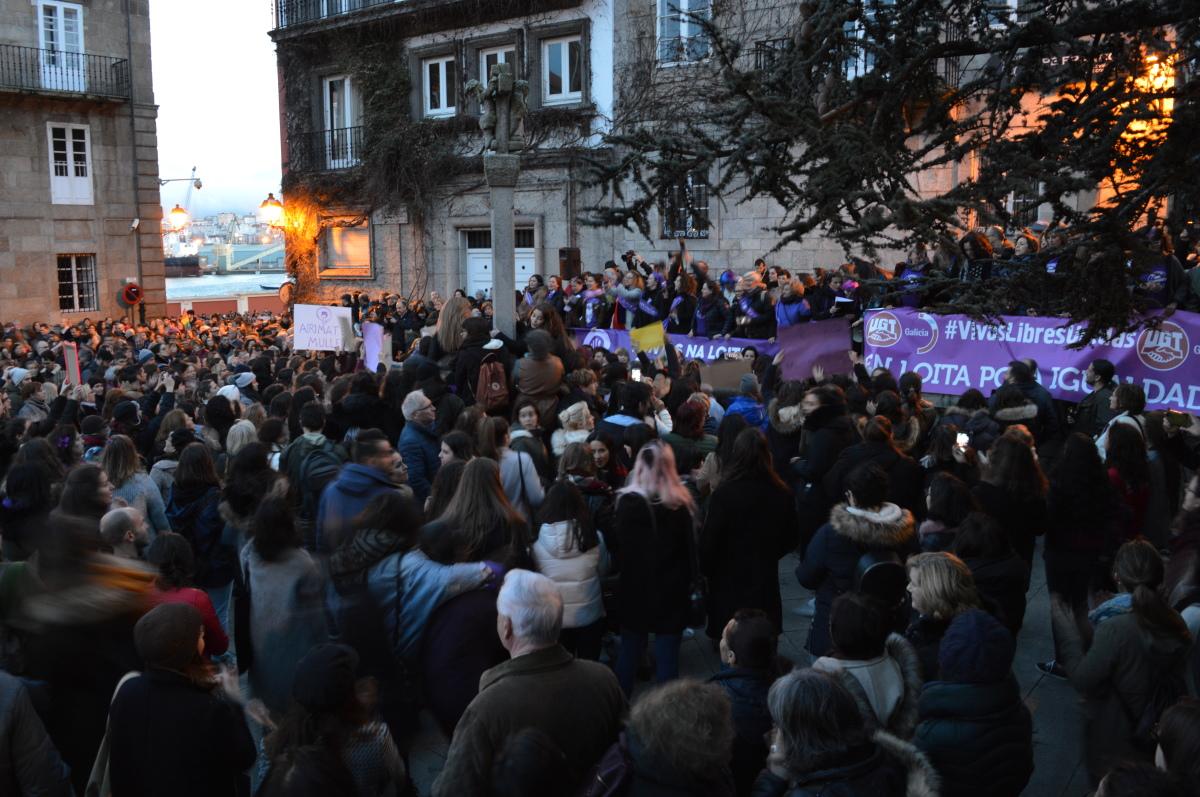 Remate da manifestación da Coruña, na Praza da Constitución