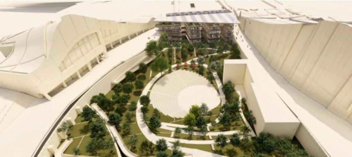 Vista do auditorio ao aire libre e o futuro Edificio Fontán do Gaiás, coa biblioteca á dereita