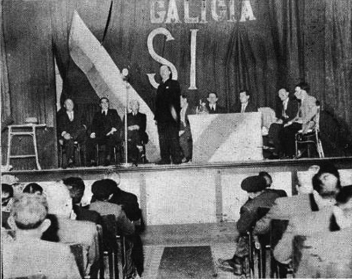 Mitin a prol do Estatuto en Pontevedra en xuño de 1936