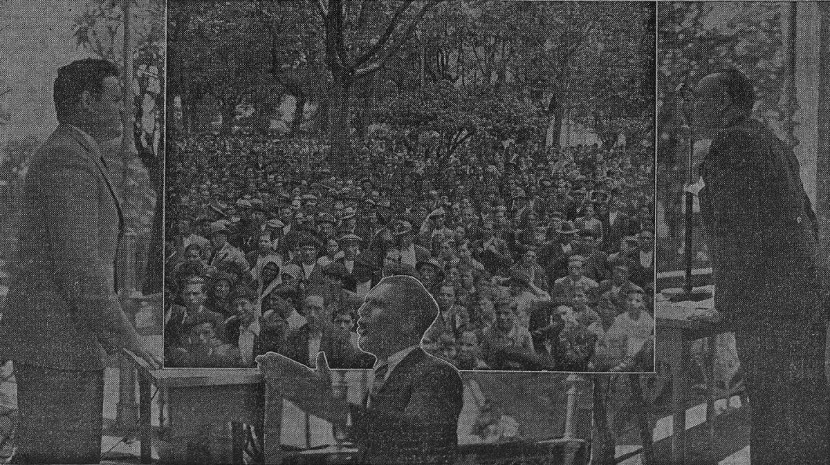 Representantes de organizacións agrarias nun mitin a prol do Estatuto na Alameda de Santiago
