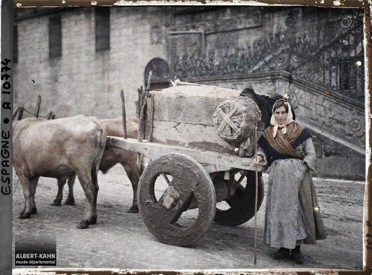 Muller e carro de bois na Praza do Obradoiro, Santiago de Compostela (1917)