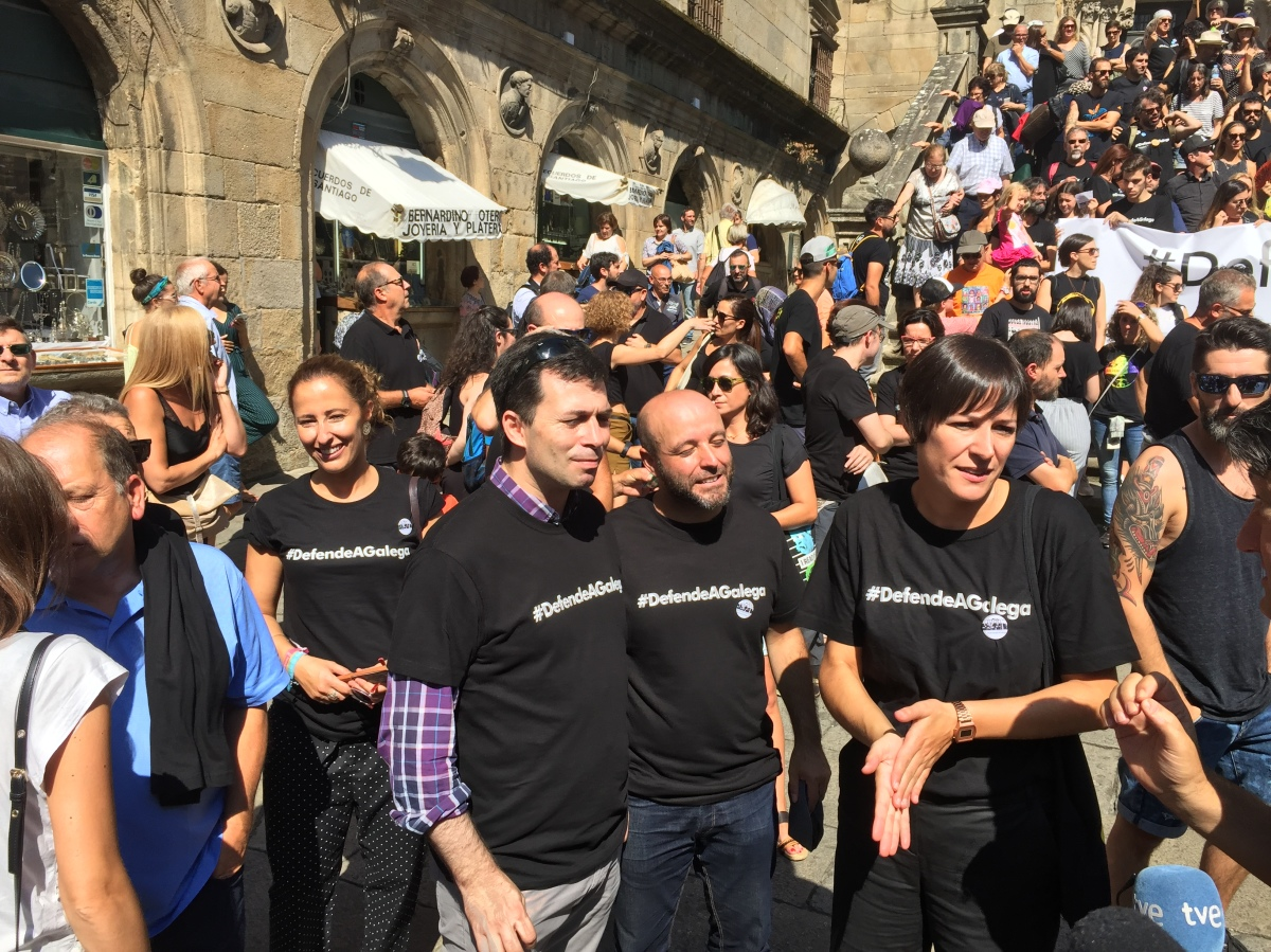 Os líderes de PSdeG, En Marea e BNG participaron tamén na manifestación