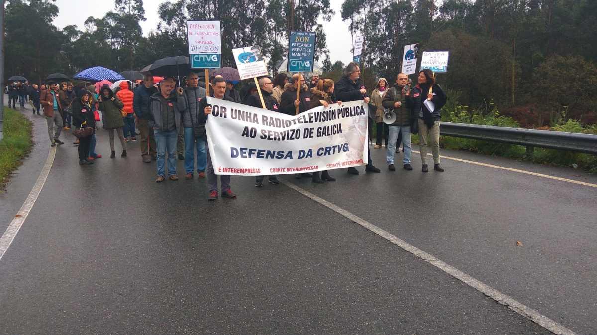 Mobilización do persoal da CRTVG no primeiro día de folga