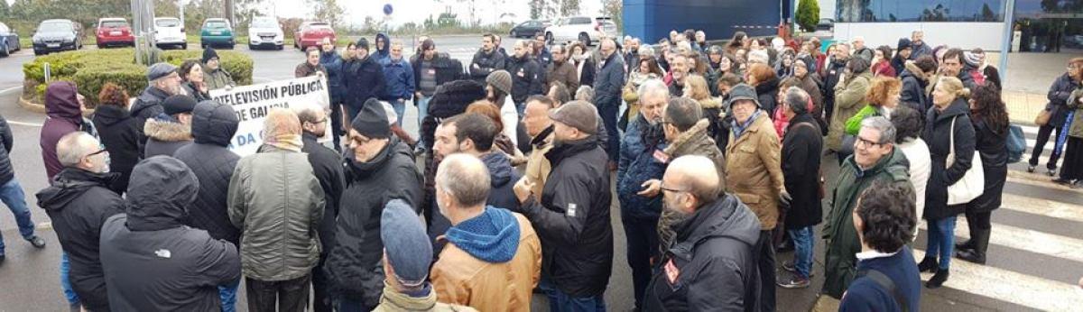 Mobilización do persoal da CRTVG no quinto día de folga