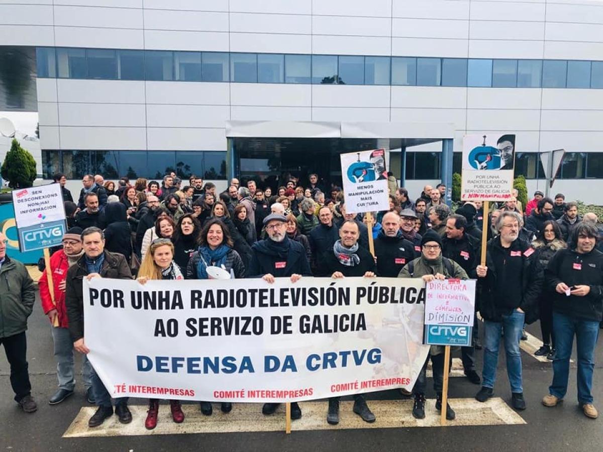 Mobilización de persoal da CRTVG en Compostela no sexto día de paros